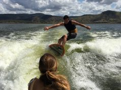 Wakeboarding on Somerset Dam.